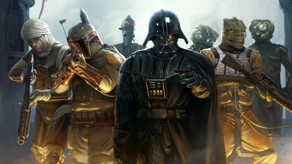 Boba-Fett-Bossk-Darth-Vader-IG-88-Star-Wars-Zuckuss-artwork-bounty-hunter-drawings-mercenaries-movies-science-fiction-video-games